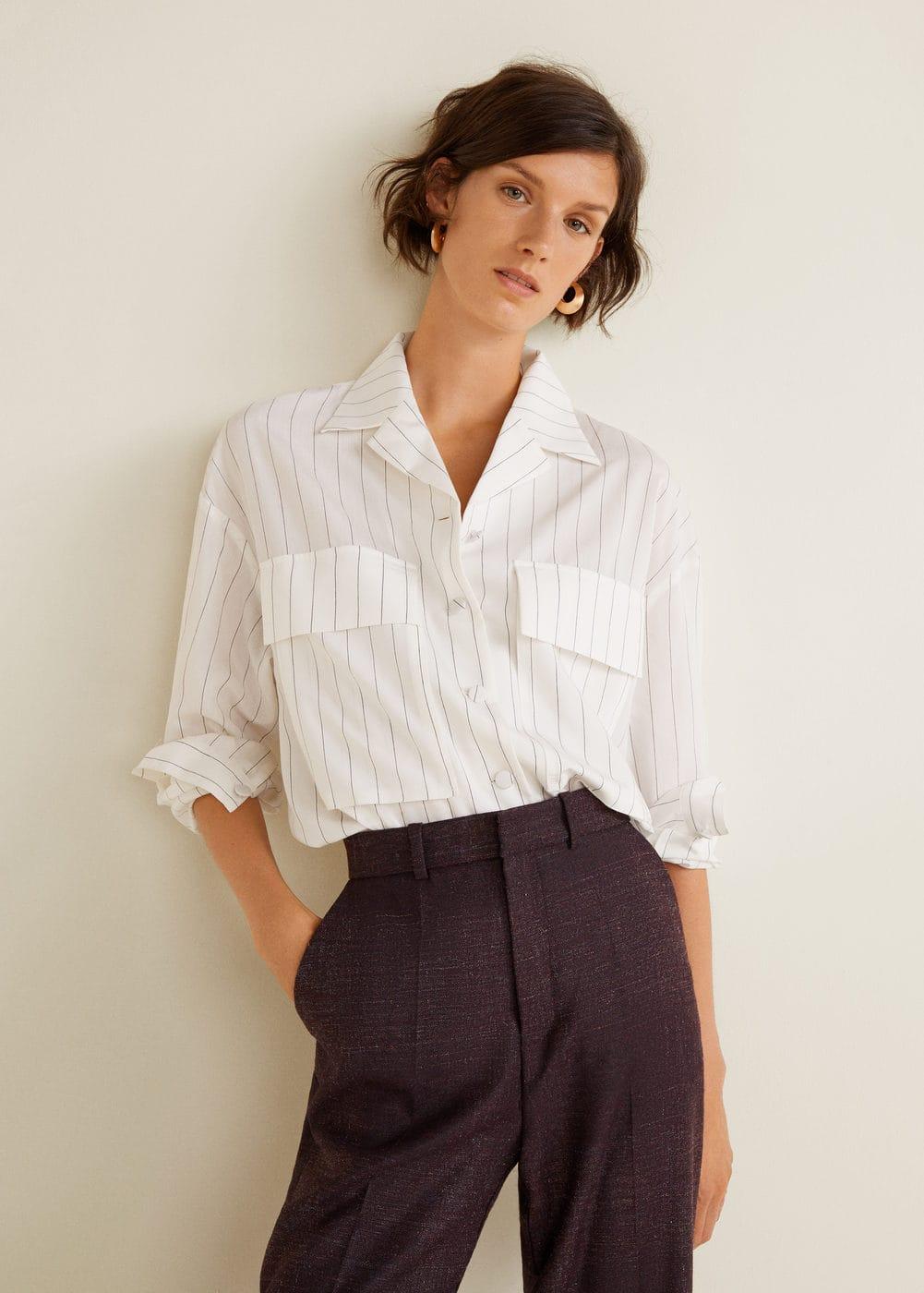 Mango - Camisa rayas bolsillos - 1