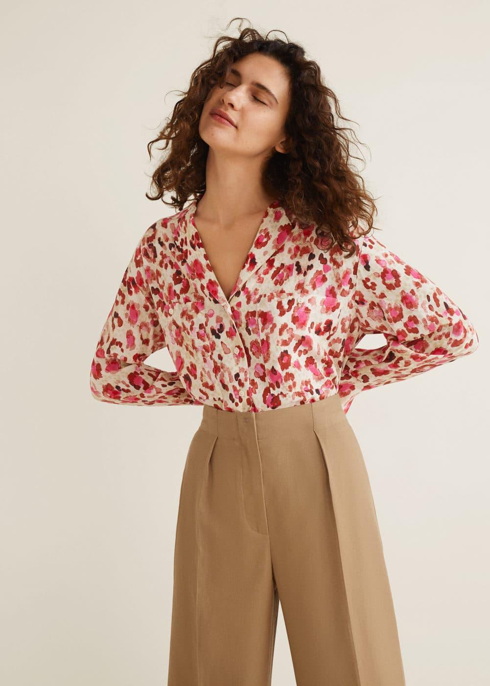 Camisa Estampada Bolsillos by Mango
