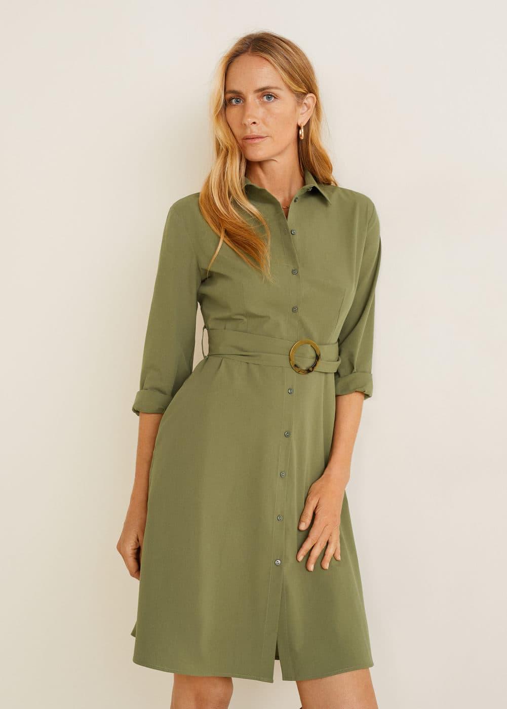 7fb3307cbecb6 Kemerli gömlek elbise - Kadın | Mango Türkiye