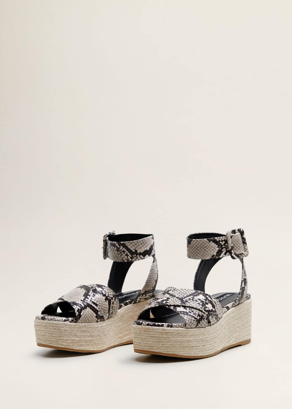 Snake Effect Wedge Sandals by Mango