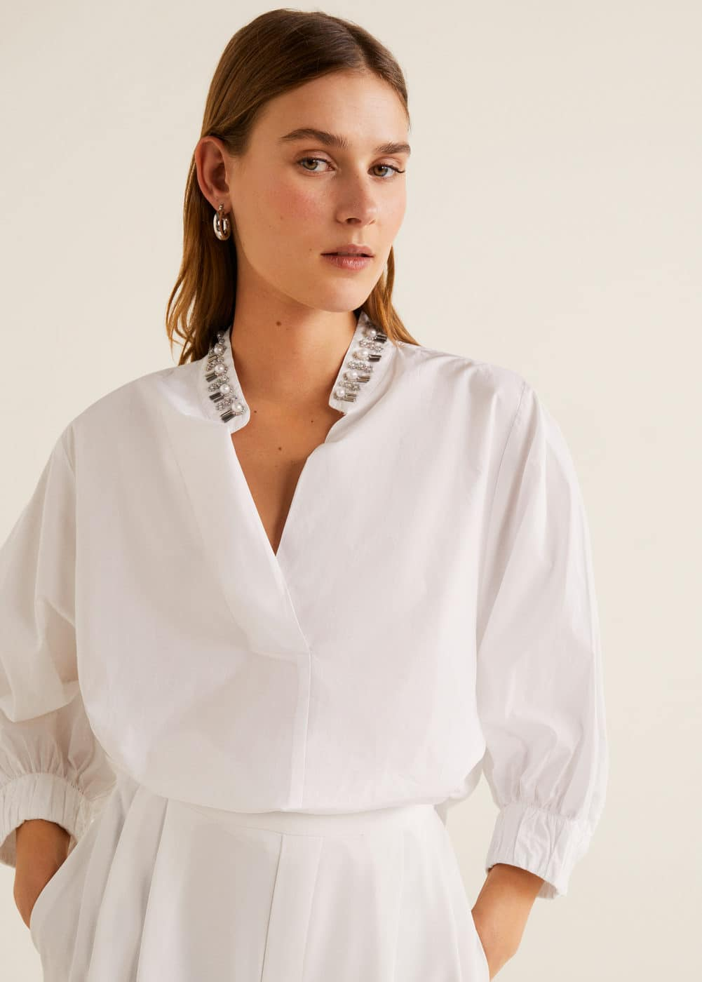 Crystals Cotton Blouse by Mango