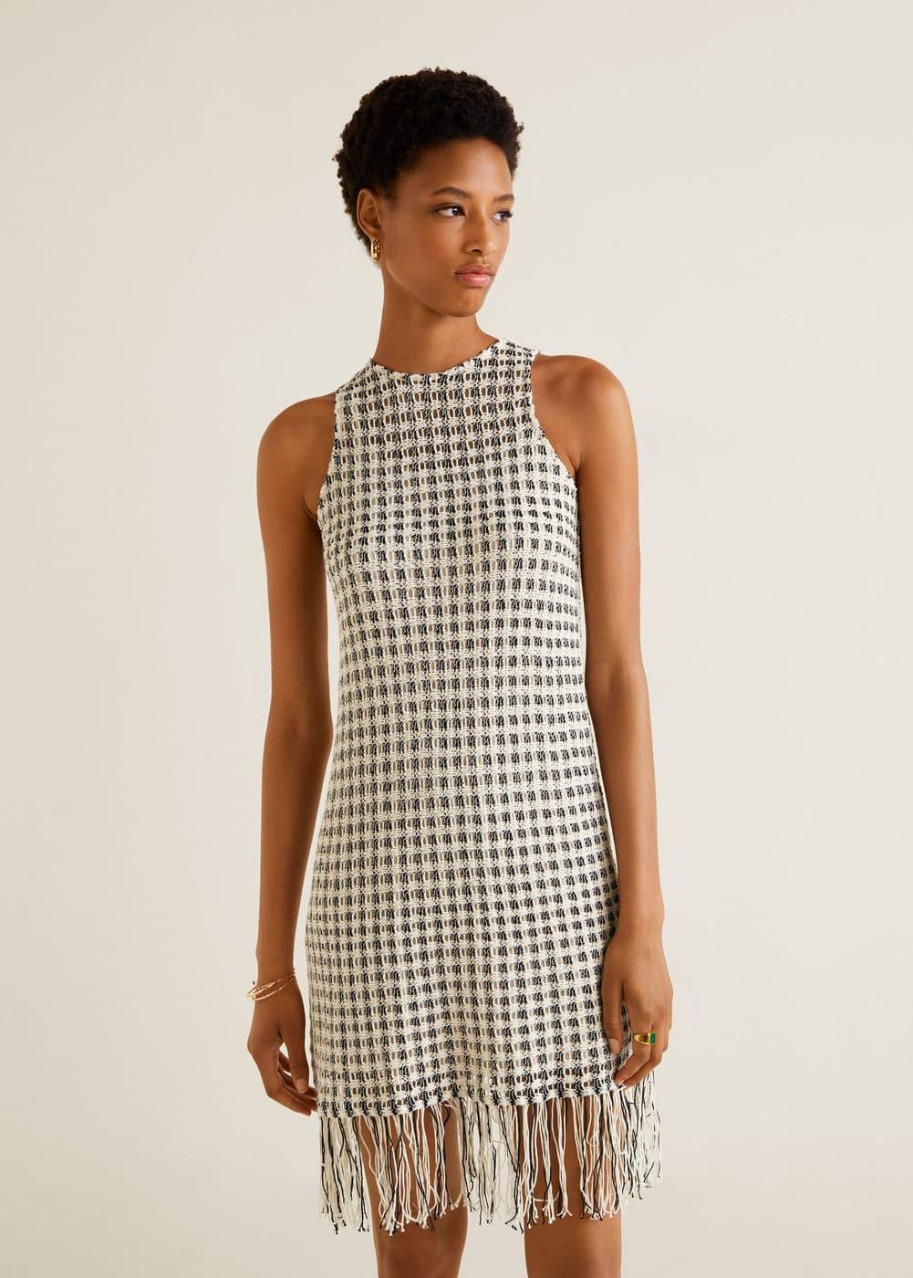 Knit Fringed Dress by Mango