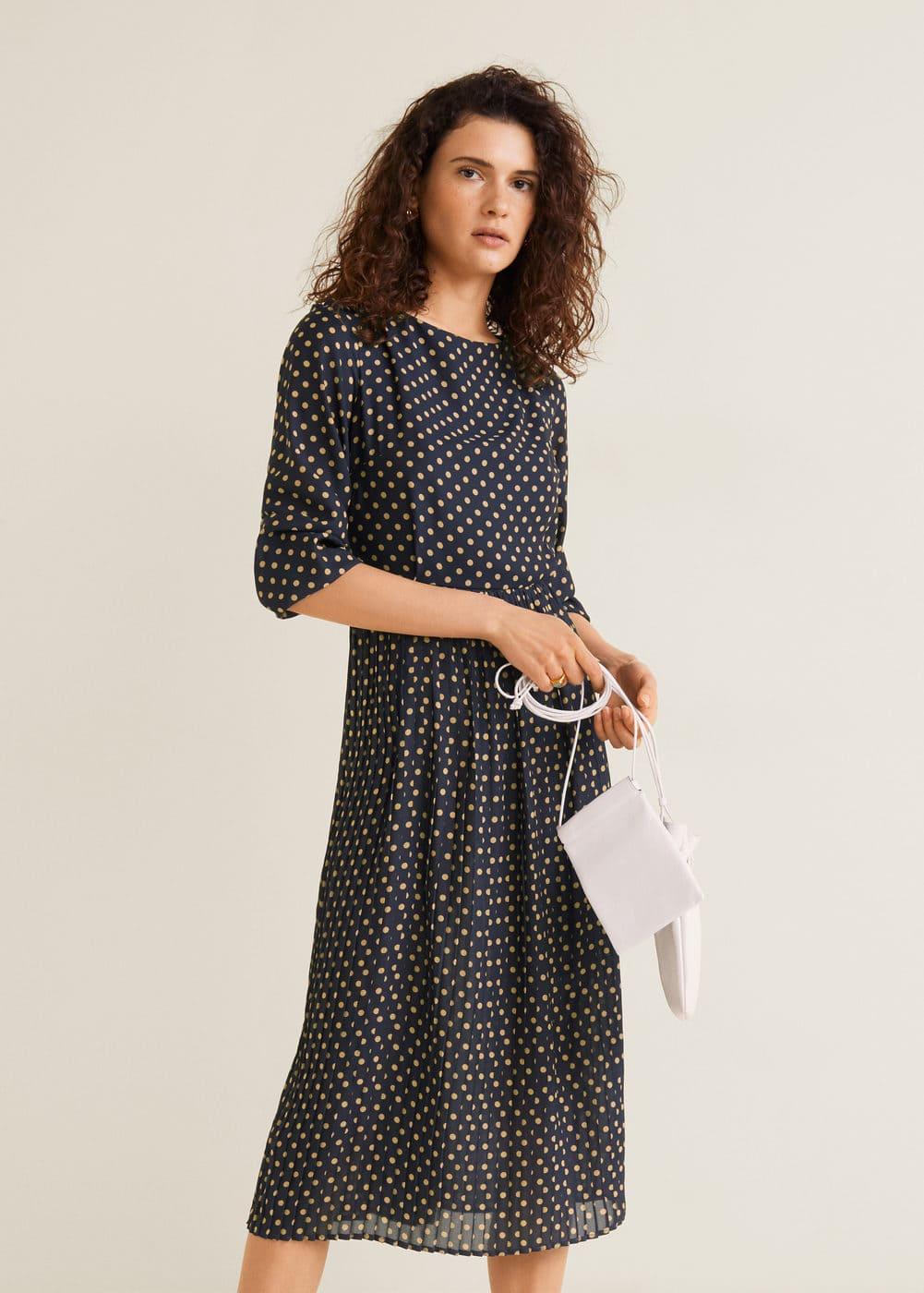 Sukienka Plisowana W Grochy by Mango