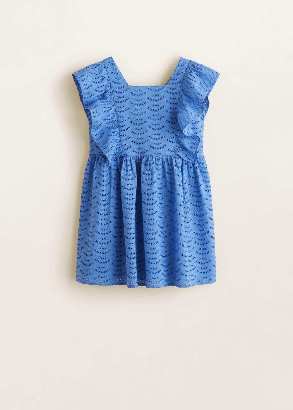 Broderie anglaise <b>ruffled dress</b> - <b>Girls</b> | Mango Kids Lithuania