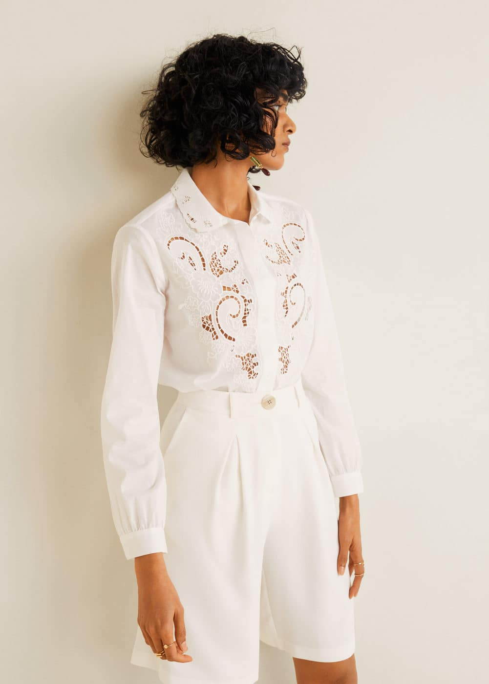 Embroidered Panel Shirt by Mango
