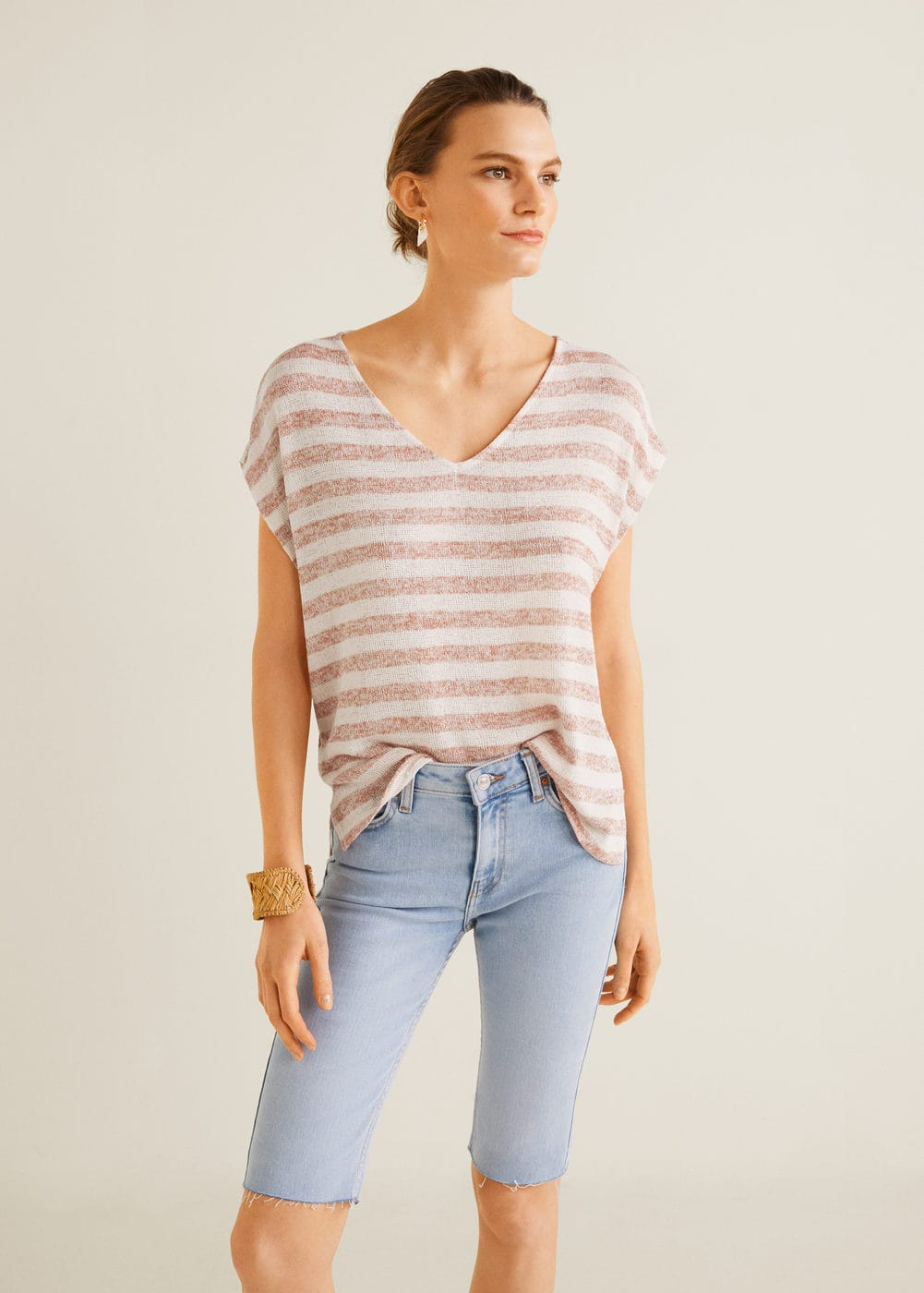 Striped jersey t-shirt -  Woman | OUTLET Latvia