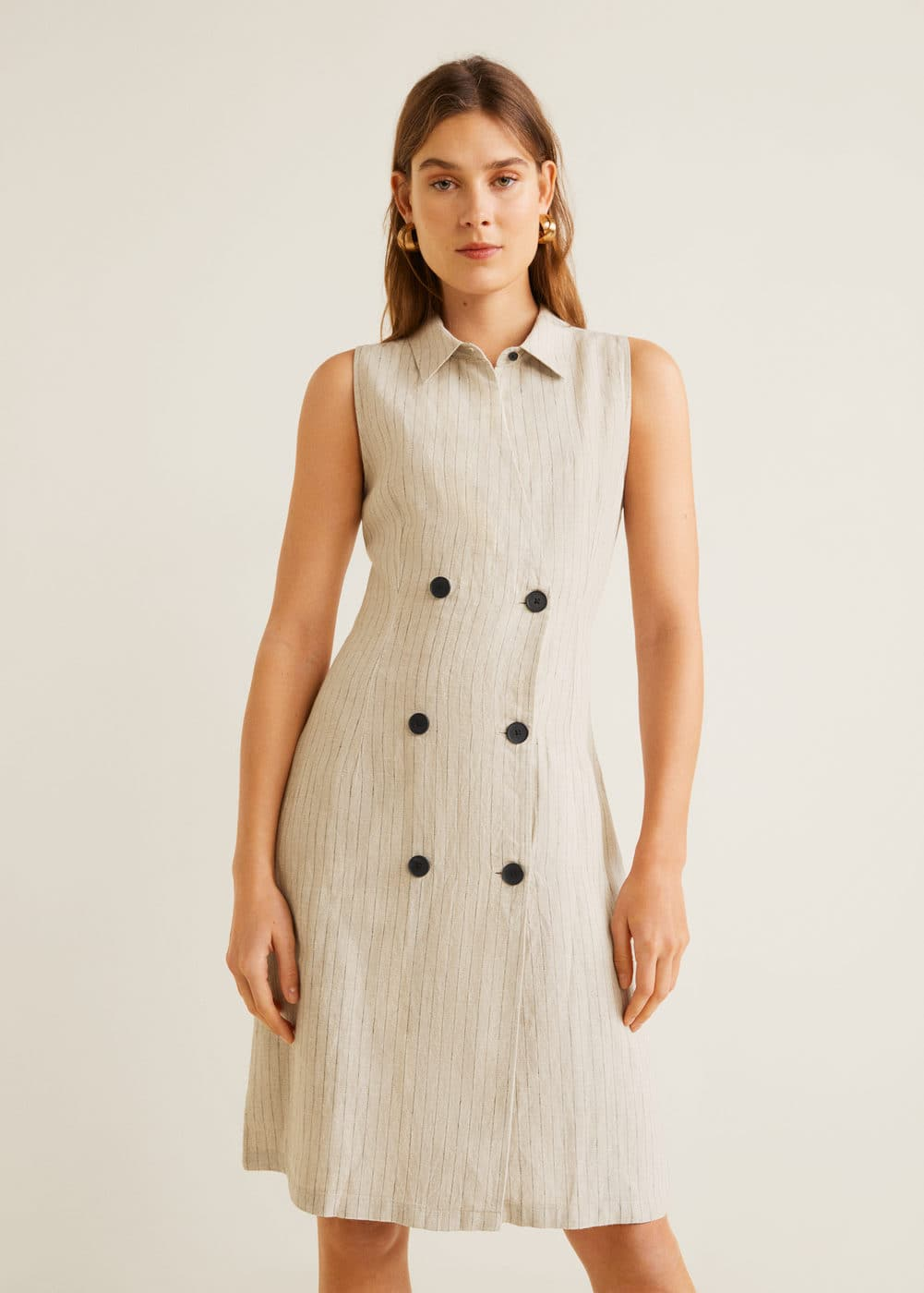 2356a86d6 Striped linen dress - Women | Mango United Kingdom
