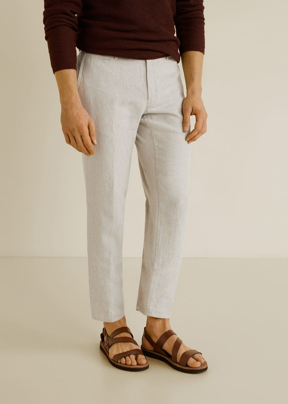 slim-fit-linen-trousers by mango