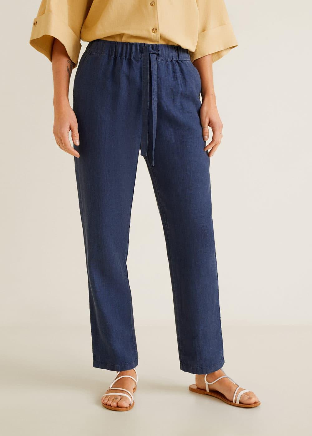 Mango - Straight linen-blend trousers - 1