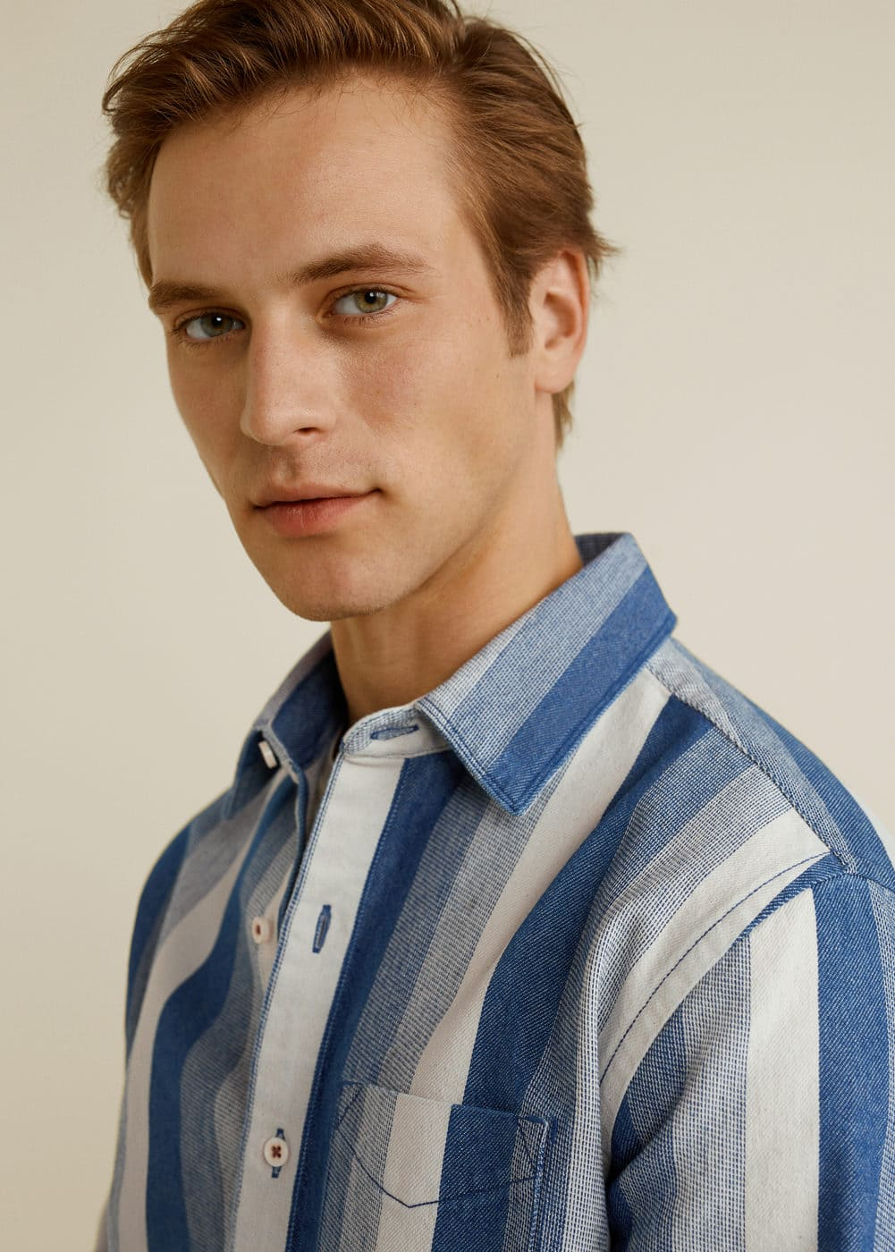 Mango - Relaxed-fit striped overshirt - 4