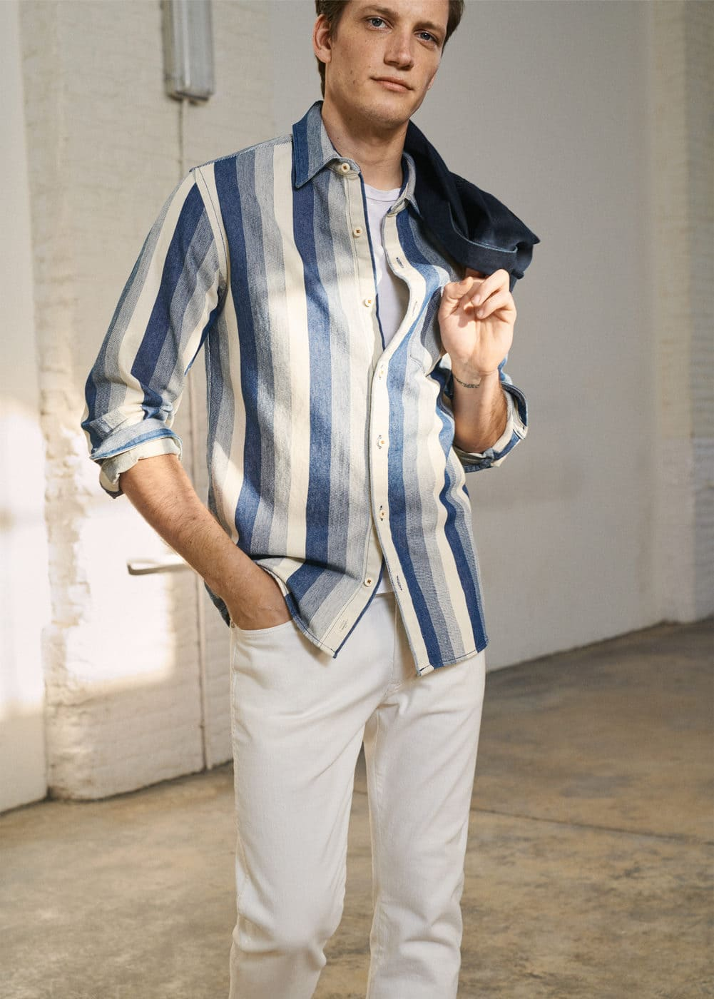 Mango - Relaxed-fit striped overshirt - 5