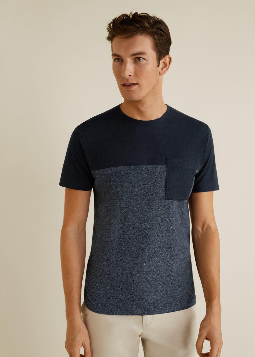 Mango - Camiseta combinada bolsillo - 1
