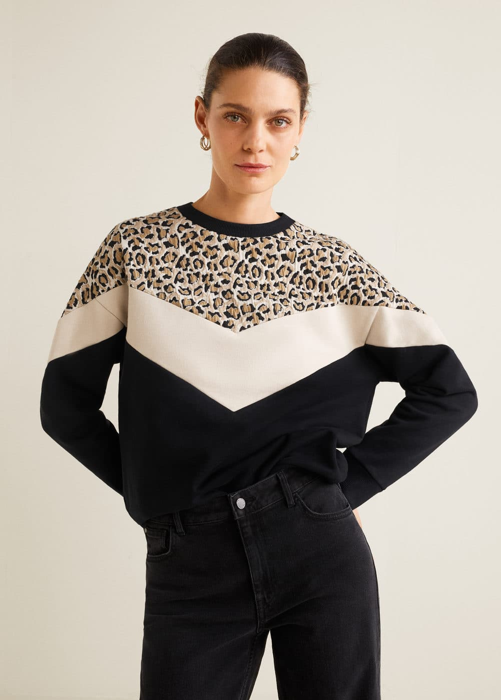 Leopard Panel Sweatshirt Mango