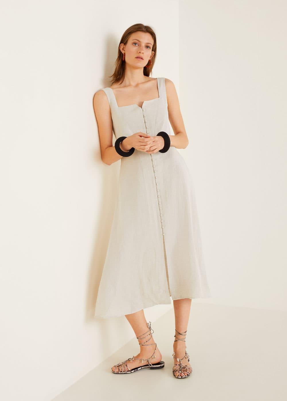 ffd300da42ef4 Düğmeli midi boy elbise - Kadın | Mango Türkiye
