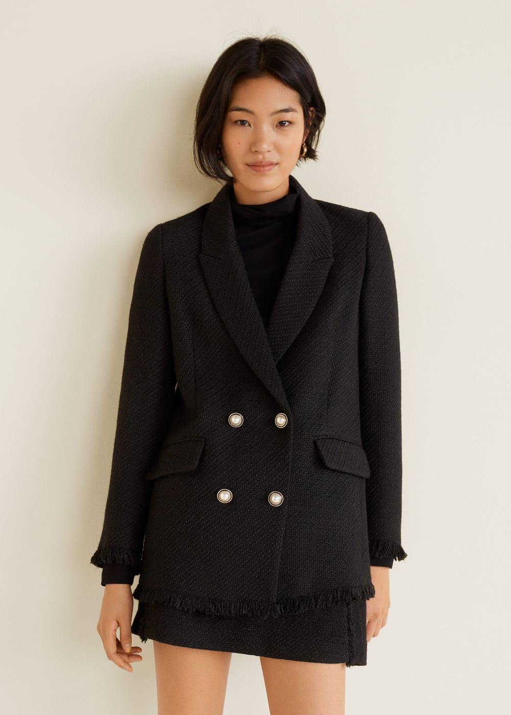 buttons tweed blazer women mango usa  damen jacken tweed jacken c 1_13 #5