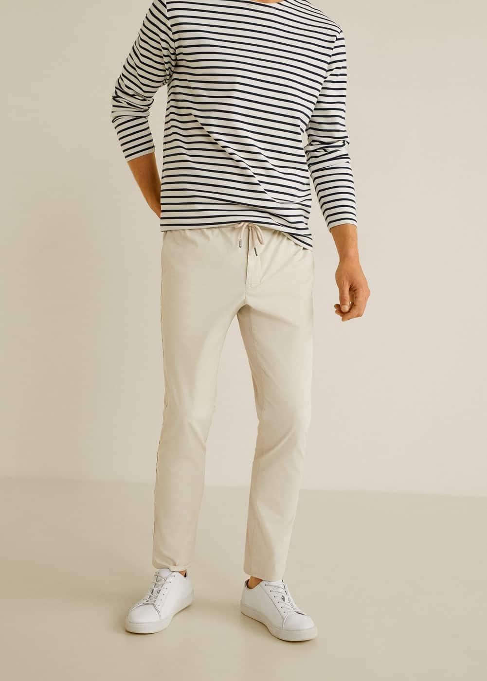 Slim Fit Elastic Waist Trousers by Mango
