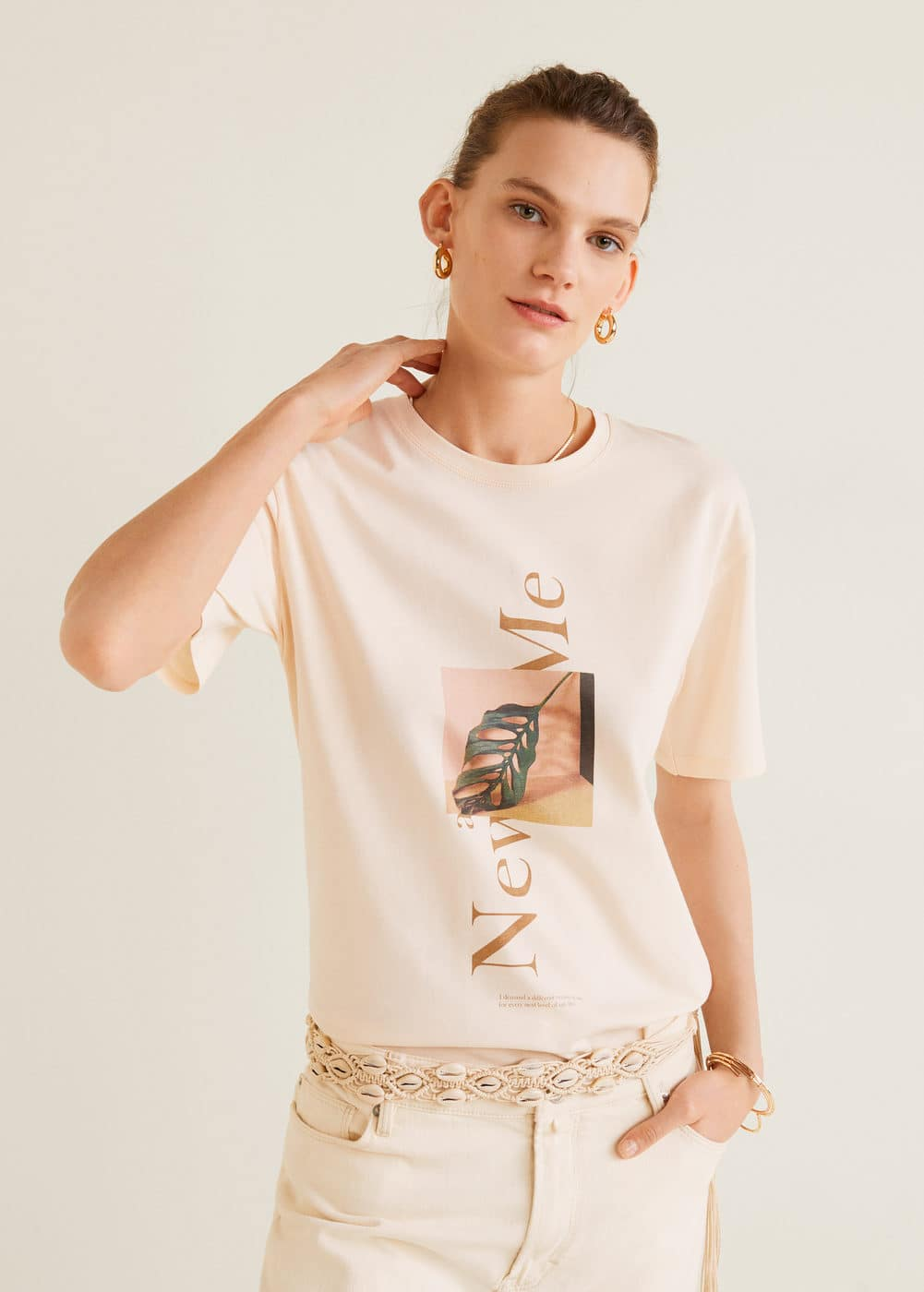 c6c1de4a2 Message cotton t-shirt - Woman | Mango Canada