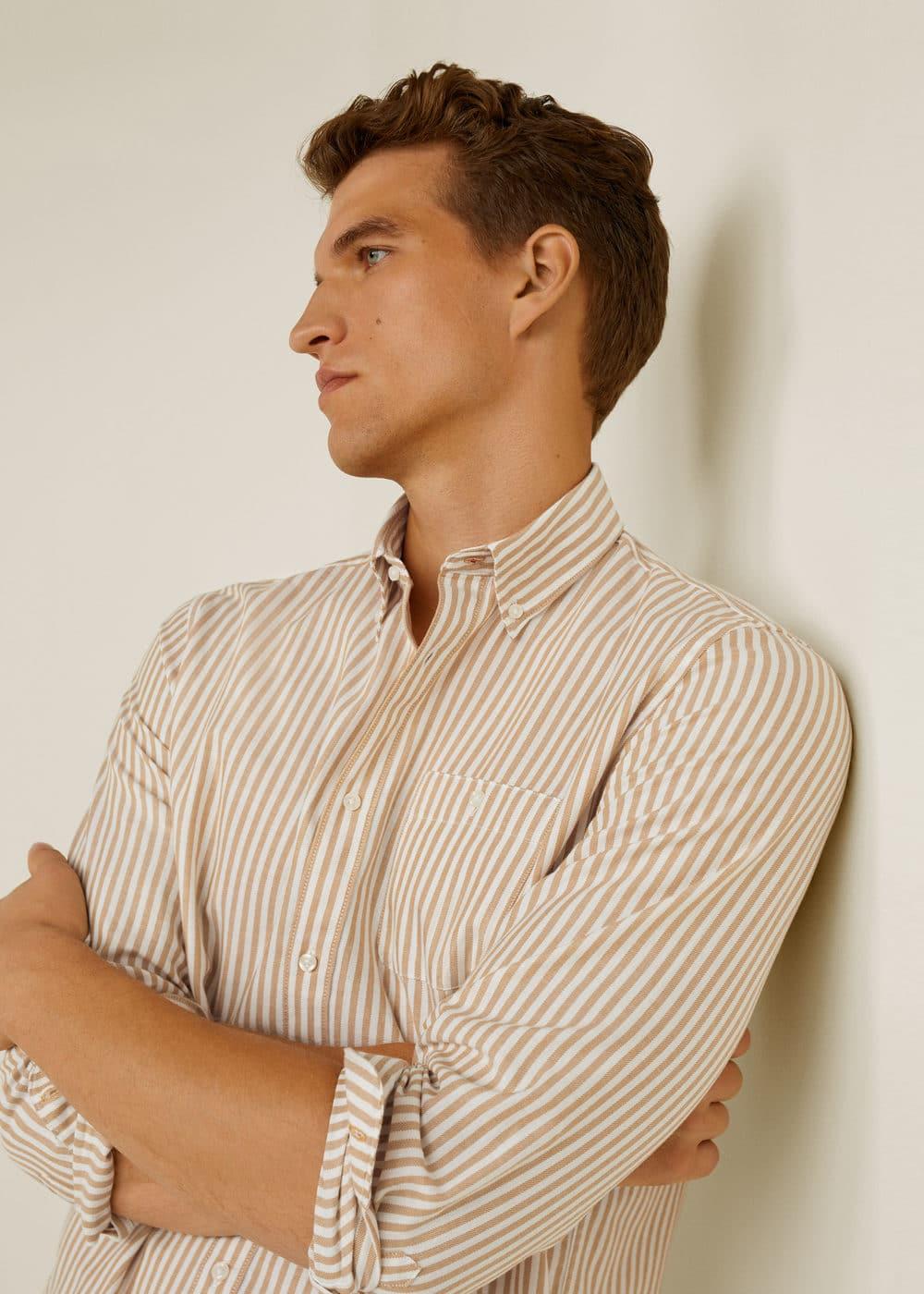 Mango - Camisa regular-fit rayas algodón - 4