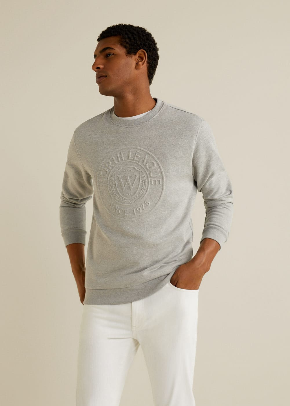 479969b68f437 Embossed message cotton sweater - Men