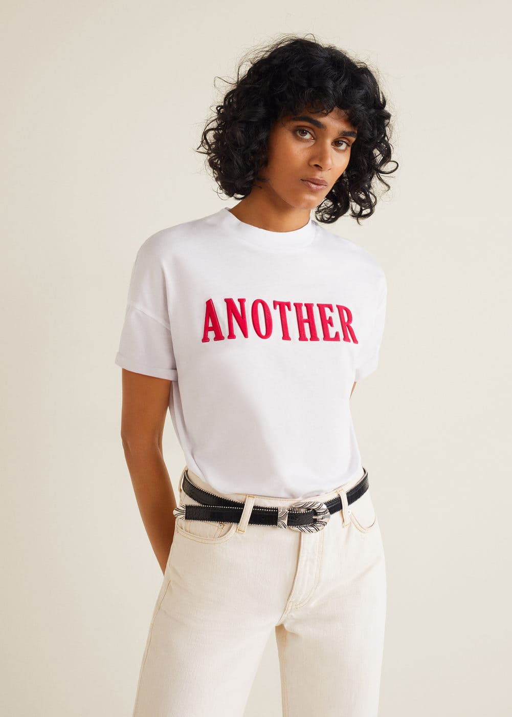 m-another:camiseta mensaje terciopelo