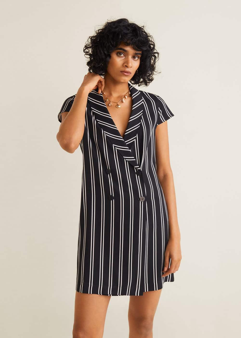 2b9257acf Striped wrap dress - Woman | Mango South Africa