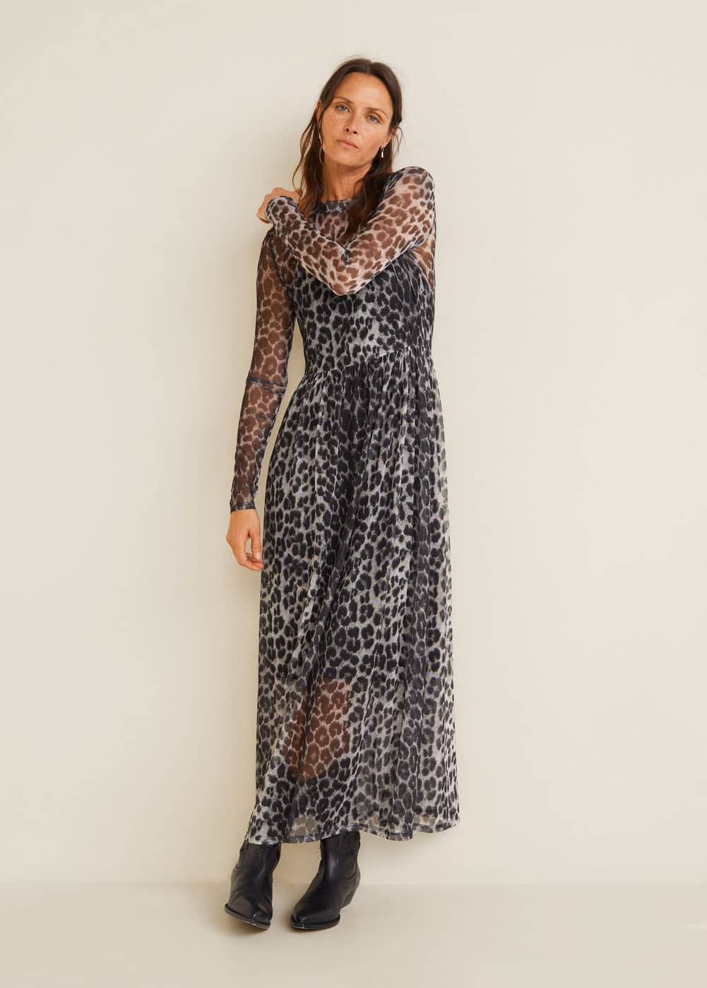 m-saru:vestido tul estampado