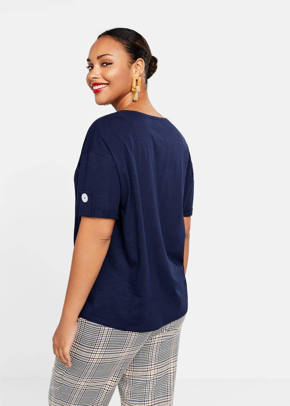 Mango - Camiseta algodón orgánico botones - 3