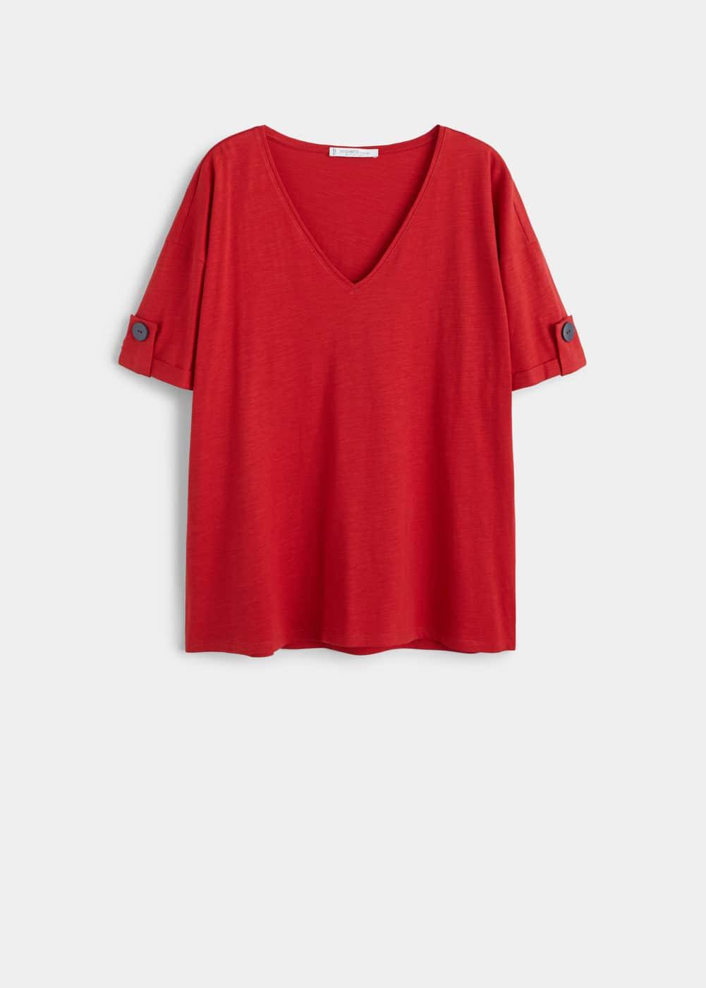 Mango - Camiseta algodón orgánico botones - 6
