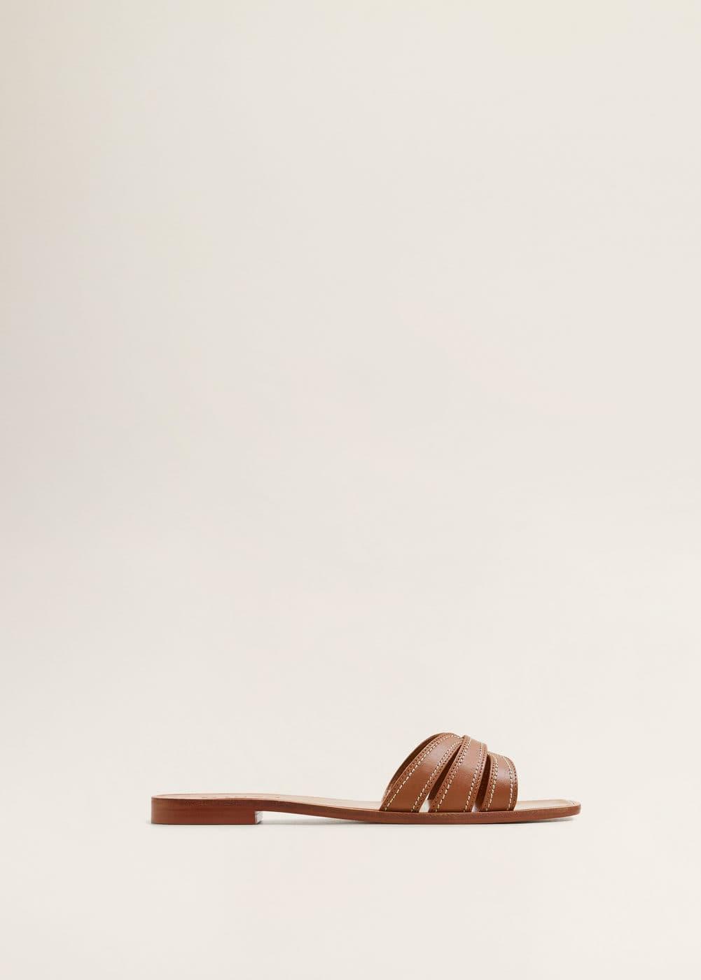 Skórzane Sandały Z Pasków by Mango