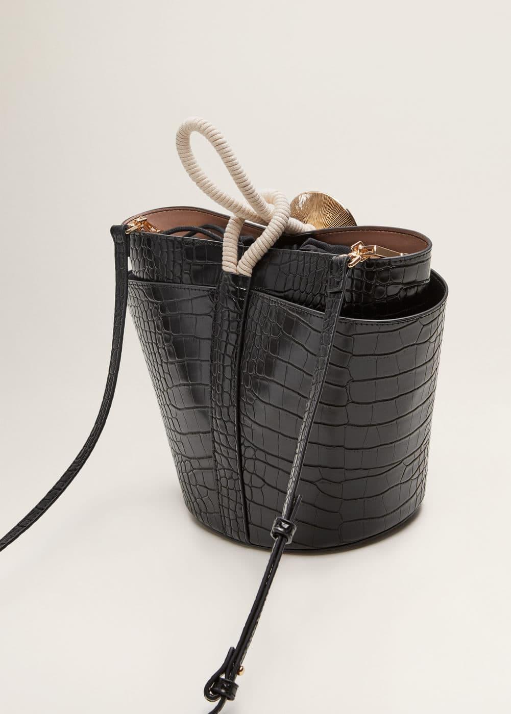 Mango - Croc-effect bucket bag - 3