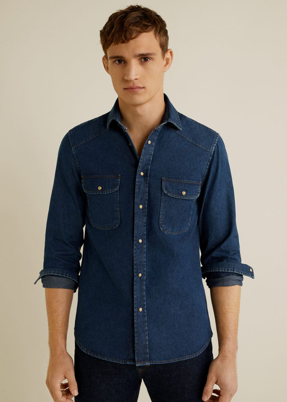 Mango - Dunkles Slim Fit-Overshirt aus Denim - 1