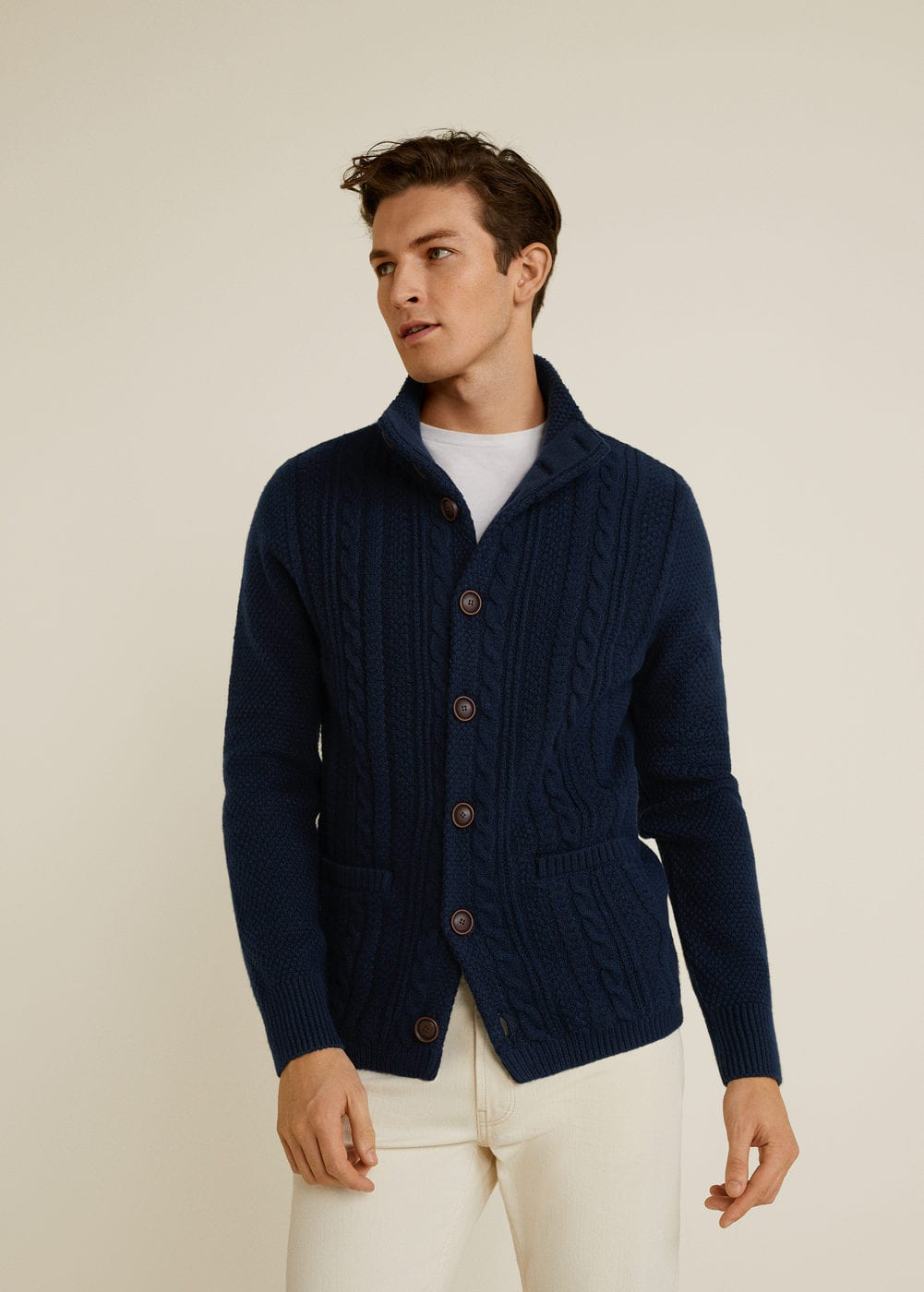 Mango - Buttoned knit braided cardigan - 1
