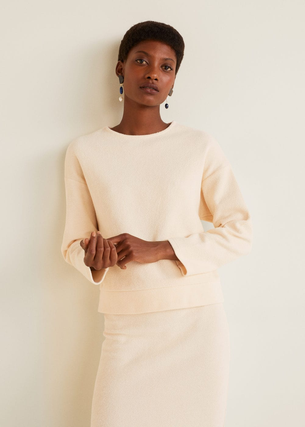 Textured Cotton Blend Sweater by Mango