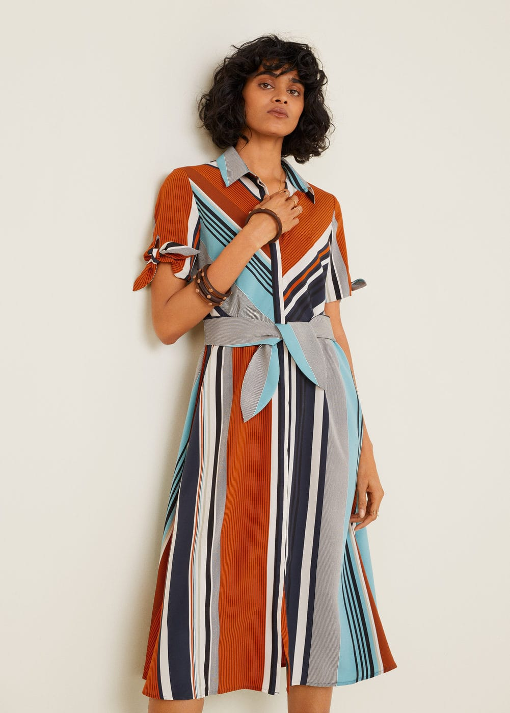 Kjole Med Blandete Striper by Mango