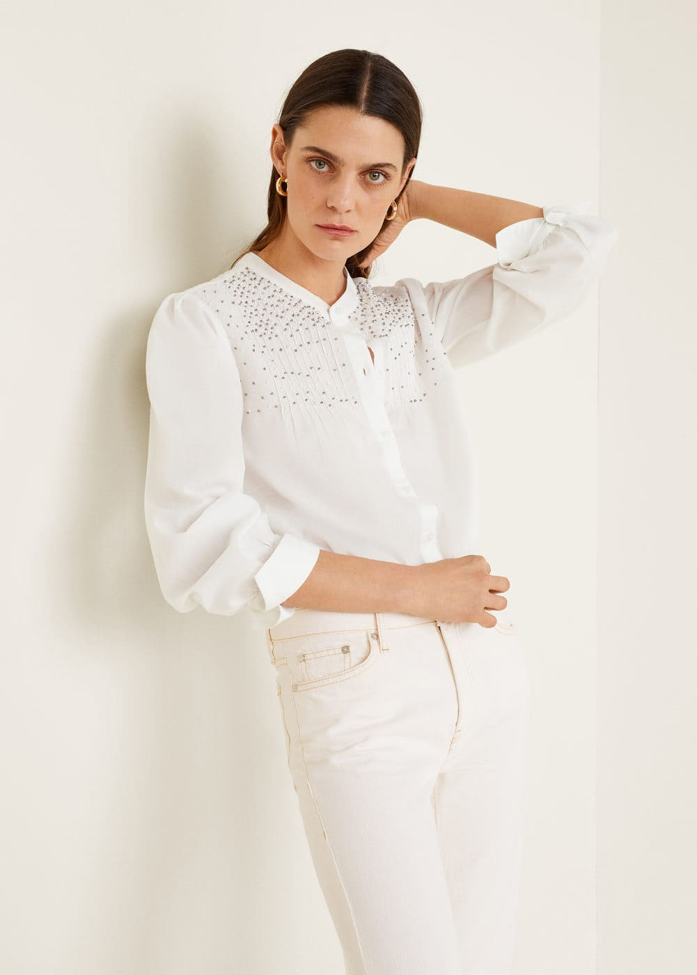 Mango - Besticktes Hemd mit Perlenverzierung - 4