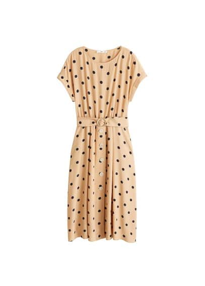 MANGO Polka-dot belt dress