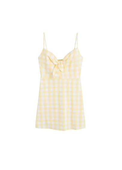 MANGO Gingham check bow dress