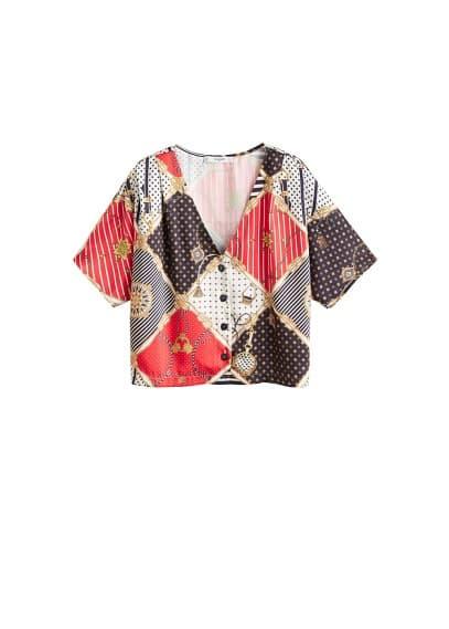 mango - Gemusterte bluse mit kettenmotiv