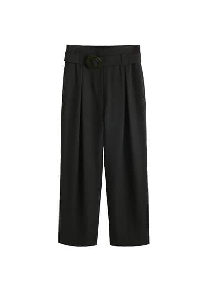Tokalı yüksek bel pantolon Siyah Ürün Resmi