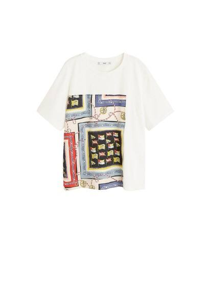 mango - T-shirt mit scarf-print