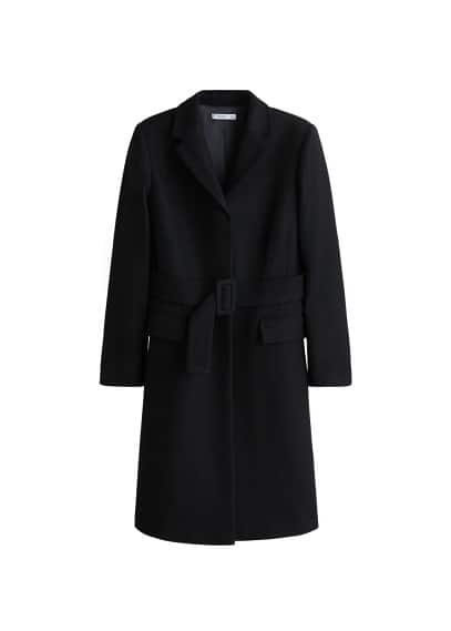 Kalıplı yün palto Siyah,Kızıl kahverengi Ürün Resmi