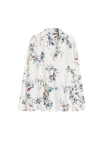 Çiçekli bluz Kırık Beyaz,Haki Renk Ürün Resmi