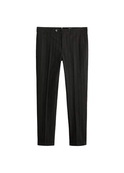 Çizgili koton pantolon Siyah Ürün Resmi