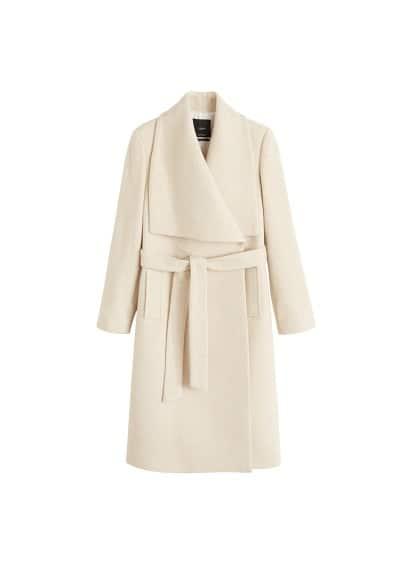 Geniş yakalı yün karışımlı palto Ekrü,Açık Kırçıllı Gri Ürün Resmi