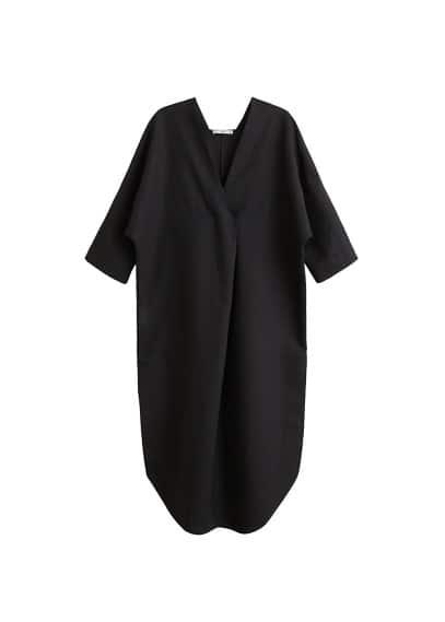 MANGO Oversize linen-blend dress