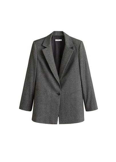 Kırçıllı kumaş blazer ceket Koyu Eflatun Rengi Ürün Resmi