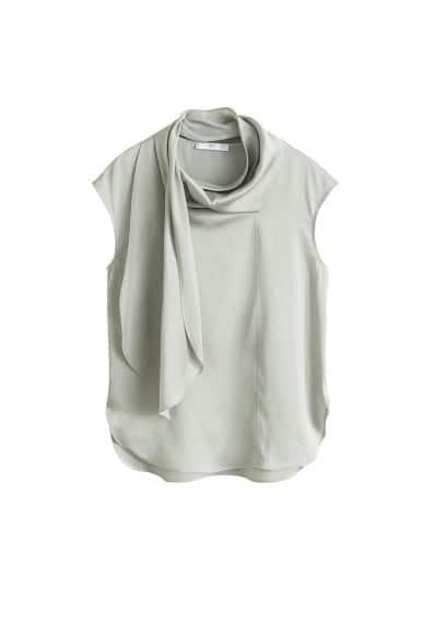 Fiyonklu saten bluz Yeşil Ürün Resmi