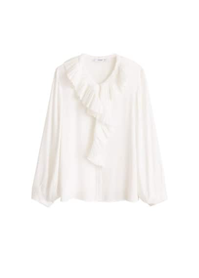 Yakası fırfırlı bluz Siyah,Kırık Beyaz Ürün Resmi