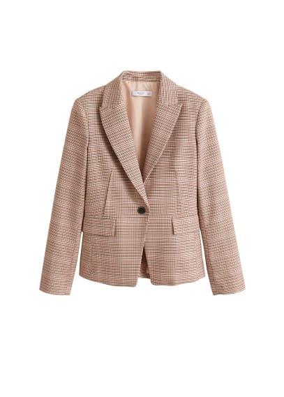 Mini kazayağı desenli kumaş blazer Pembe Ürün Resmi