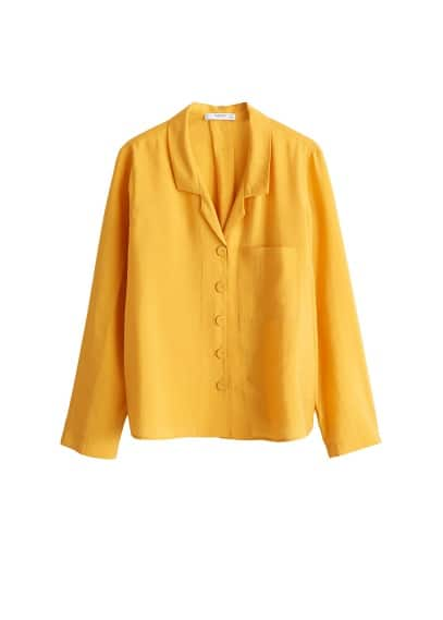 Dökümlü modal bluz Hardal Rengi Ürün Resmi